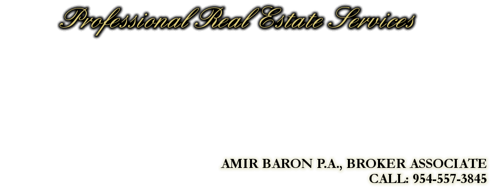Professional Real Estate Services, AMIR BARON P.A., BROKER ASSOCIATE, CALL: 954-557-3845
